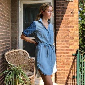 Cloth & Stone Two Tone Chambray Shirt Dress